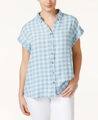 Style & Co. Plus Size Short-Sleeve Gingham Shirt, Only at Vogily