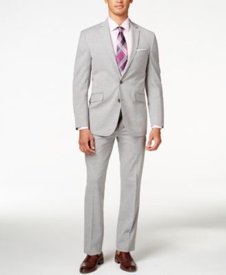 Kenneth Cole Reaction Men's Light Grey Sharkskin Slim-Fit Suit