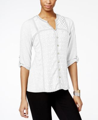 NY Collection Mixed-Media Smocked Henley Top