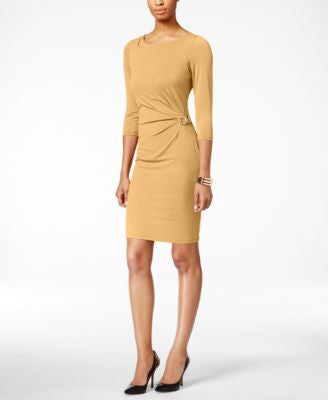 NY Collection Side-Ruched Sheath Dress