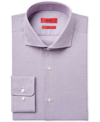 HUGO Men's Slim-Fit Pink Micro-Pattern Dress Shirt