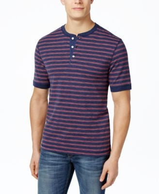 Club Room Men's Slub Striped Henley, Only at Vogily