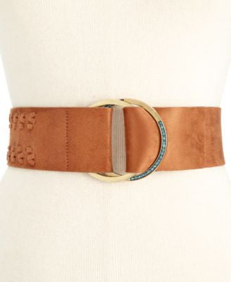 INC International Concepts Faux Suede Whipstitch Pull-Through Stretch Belt, Only at Vogily