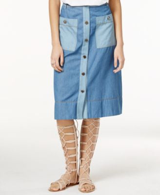RACHEL Rachel Roy Denim Combo Midi Skirt