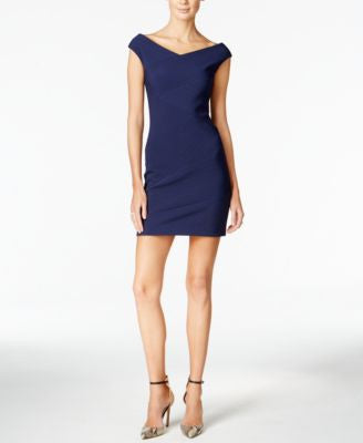 GUESS Cap-Sleeve Off-the-Shoulder Bodycon Dress