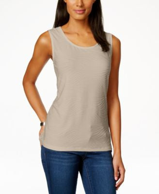 JM Collection Scoop-Neck Textured Jacquard Tank Top, Only at Vogily