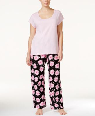 Hue Plus Size Lace-Trim Top & Floral-Print Pajama Pants Sleep Separates