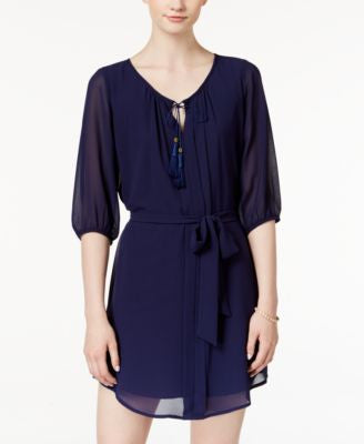 BCX Juniors' Three-Quarter-Sleeve Belted Shirtdress