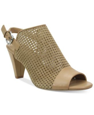 Tahari Eloise Perforated Peep-Toe Slingback Sandals