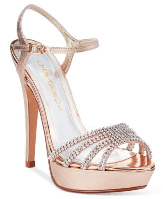Caparros Belle Embellished Ankle-Strap Platform Evening Sandals