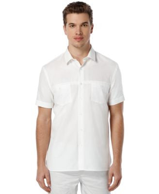 Perry Ellis Short-Sleeve Solid Dobby Shirt