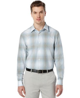 Perry Ellis Long-Sleeve Ombré Plaid Shirt
