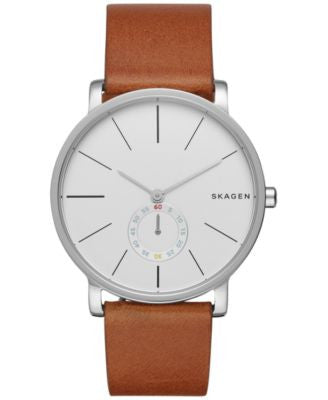 Skagen Men's Chronograph Hagen Brown Leather Strap Watch 40mm SKW6273