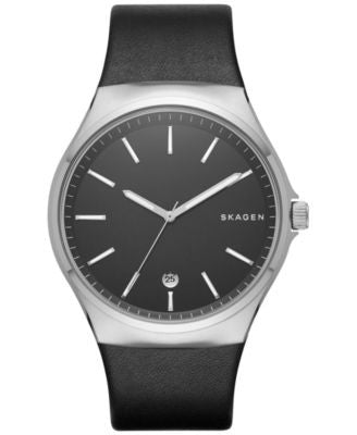 Skagen Men's Sundby Black Leather Strap Watch 42mm SKW6260