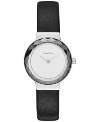 Skagen Women's Lenora Black Leather Strap Watch 25mm SKW2428