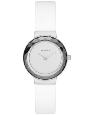 Skagen Women's Lenora White Leather Strap Watch 25mm SKW2424