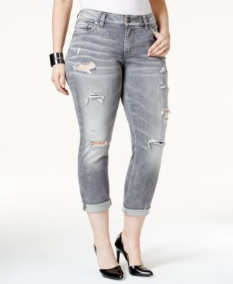 Silver Jeans Trendy Plus Size Suki Ripped Grey Wash Cropped Jeans