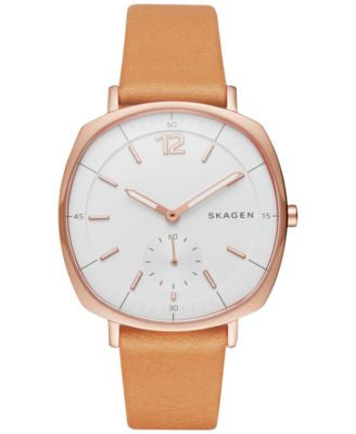 Skagen Women's Chronograph Rungsted Natural Leather Strap Watch 34x39mm SKW2418