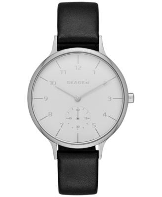 Skagen Women's Chronograph Anita Black Leather Strap Watch 34mm SKW2415
