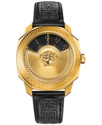 Versace Women's Swiss Black Leather Strap Watch 38mm VQU020015