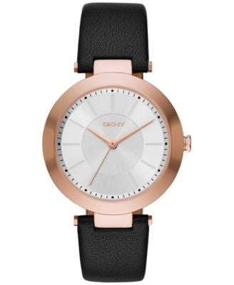 DKNY Women's Stanhope Black Leather Strap Watch 36mm NY2468