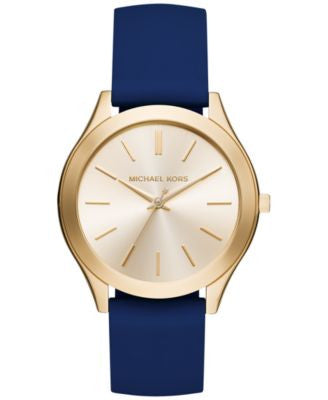 Michael Kors Women's Slim Runway Sporty Navy Silicone Strap Watch 42mm MK2511, Only at Vogily
