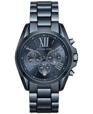 Michael Kors Women's Chronograph Bradshaw Blue Ion-Plated Stainless Steel Bracelet Watch 43mm MK6248