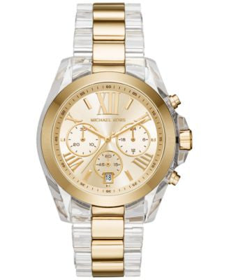 Michael Kors Women's Chronograph Bradshaw Two-Tone Stainless Steel and Acetate Bracelet Watch 43mm M