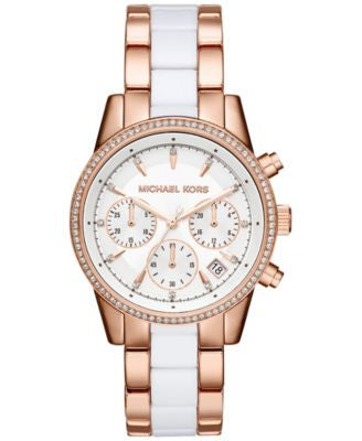 Michael Kors Women's Chronograph Ritz Two-Tone Stainless Steel and Acetate Bracelet Watch 37mm MK632
