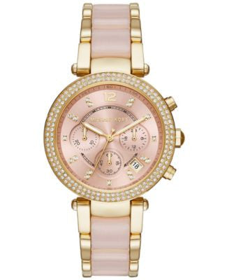 Michael Kors Women's Chronograph Parker Gold-Tone Stainless Steel and Blush Acetate Bracelet Watch 3