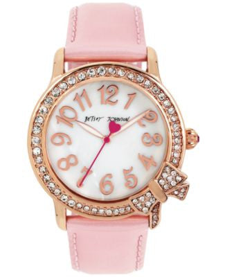 Betsey Johnson Women's Pink Leather Strap Watch 38mm BJ00562-03