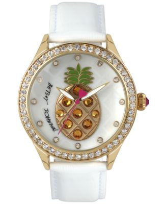 Betsey Johnson Women's White Leather Strap Watch 42mm BJ00517-33