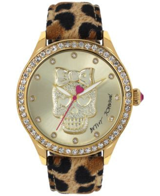 Betsey Johnson Women's Leopard-Print Leather Strap Watch 42mm BJ00517-24