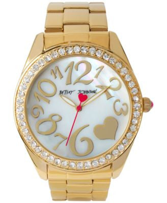 Betsey Johnson Women's Gold-Tone Stainless Steel Bracelet Watch 44mm BJ00249-27