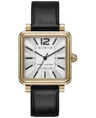 Marc Jacobs Women's Vic Black Leather Strap Watch 30mm MJ1437