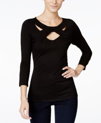 INC International Concepts Three-Quarter-Sleeve Cutout Top, Only at Vogily