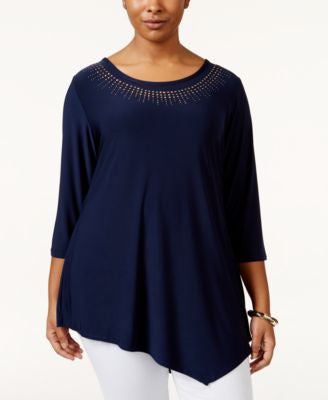 Belldini Plus Size Studded Asymmetrical-Hem Tunic Top