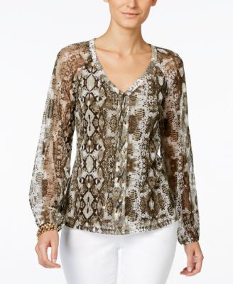 INC International Concepts Petite Printed Lace-Up Peasant Top, Only at Vogily