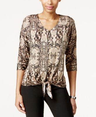 NY Collection Paisley-Print Tie-Front Top