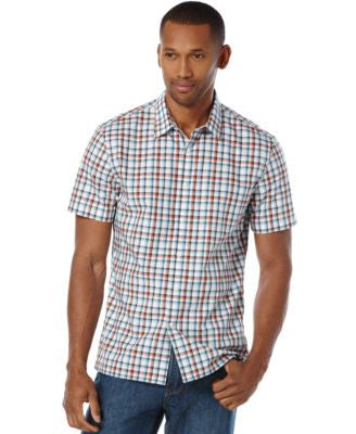 Perry Ellis Men's Dobby Multi-Check Short-Sleeve Shirt