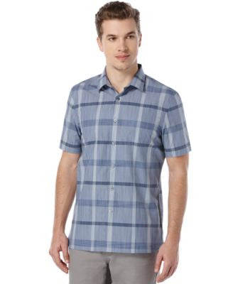 Perry Ellis Men's Slim-Fit Oversized-Plaid Short-Sleeve Shirt