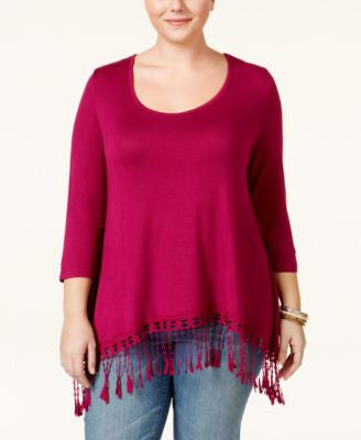 American Rag Trendy Plus Size Fringe Top, Only at Vogily Clone