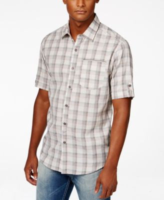 Sean John Men's Textured Windowpane Short-Sleeve Shirt
