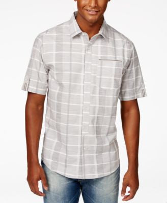 Sean John Men's Big & Tall Linear Texture Plaid Short-Sleeve Shirt