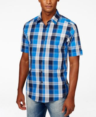 Sean John Men's Big & Tall Satin Plaid Short-Sleeve Shirt