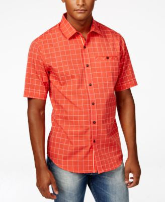 Sean John Men's Big & Tall Textured Plaid Short-Sleeve Shirt