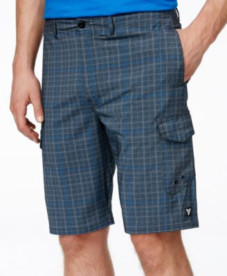Univibe Men's Woven Plaid Land to Water Swim Shorts