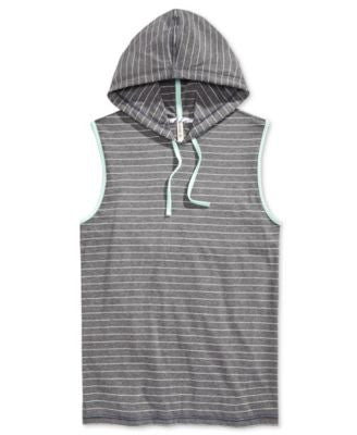 Univibe Men's Cronus Stripe Hoodie Muscle T-Shirt