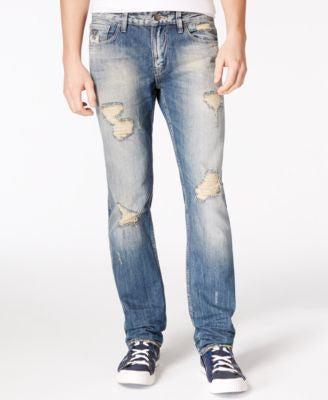 GUESS Men's Slim-Straight-Fit Destroyed Sky High Wash Jeans