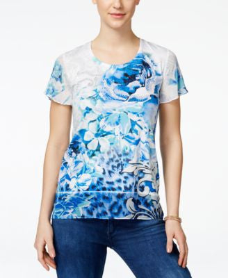 JM Collection Floral-Print Embellished Top, Only at Vogily